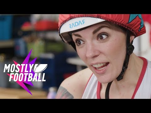 NFL Player Tries Roller Derby For the First Time | 🏈Mostly Football